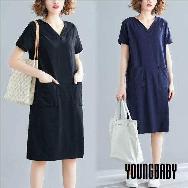 【YOUNGBABY】V領雙口袋純色洋裝(共2色)