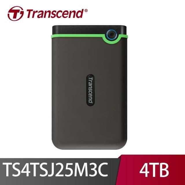 (贈卡TP-Link智慧插座)【Transcend 創見】4TB 2.5吋 軍規抗震加密外接式硬碟(Type C TS4TSJ25M3C)
