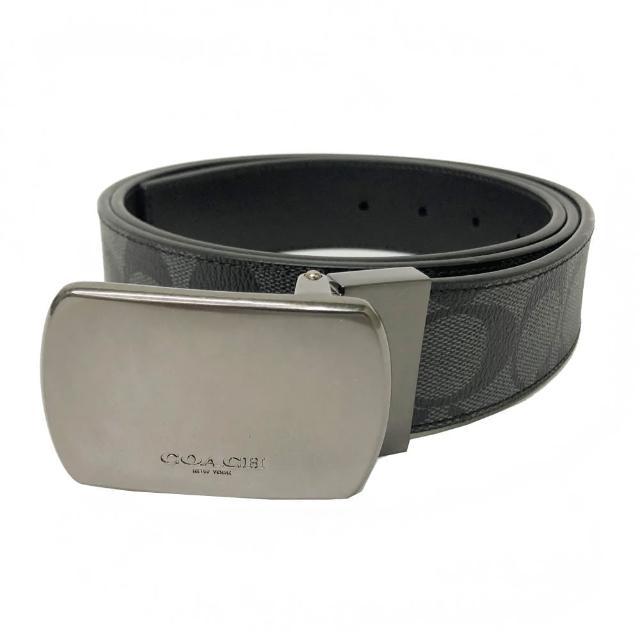 【COACH】方頭C LOGO男款中性寬版皮帶(方頭黑灰)