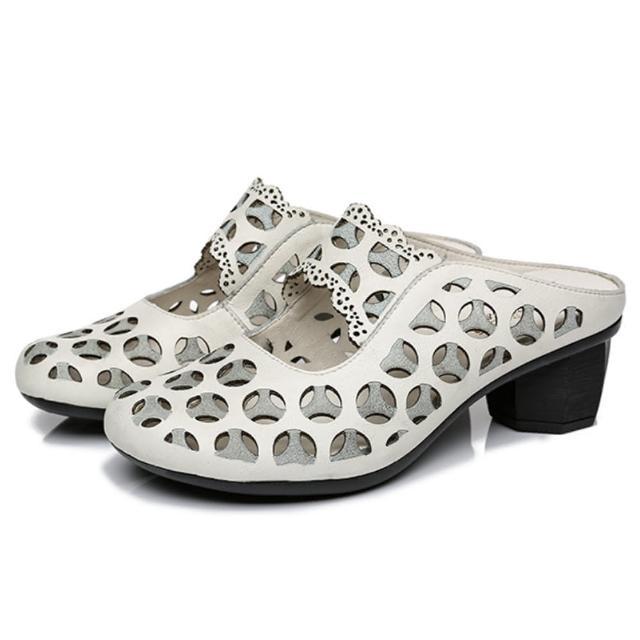 【Sp house】圓形雙層縷空設計真牛皮穆勒鞋(3色可選)