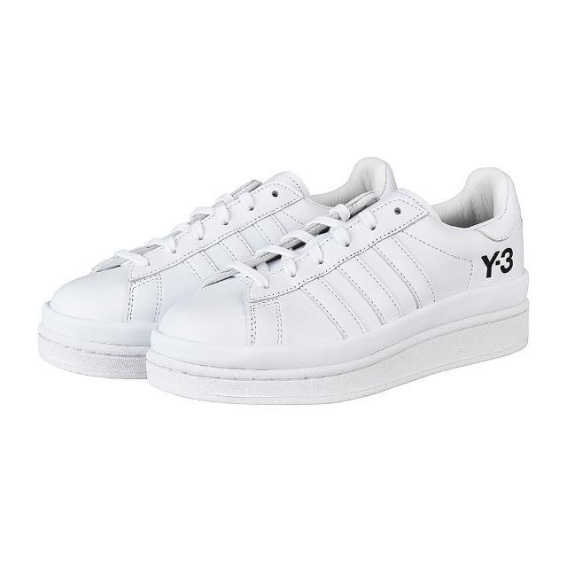 【Y-3 山本耀司】Adidas Y-3 HICHO黑字壓印LOGO皮革厚底運動板鞋(白)