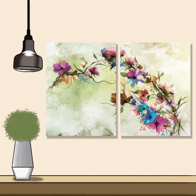 【24mama 掛畫】二聯式 油畫布 抽象 花卉 手繪 復古 春天 花朵 無框畫 時鐘掛畫-30x40cm(柔和雛菊)