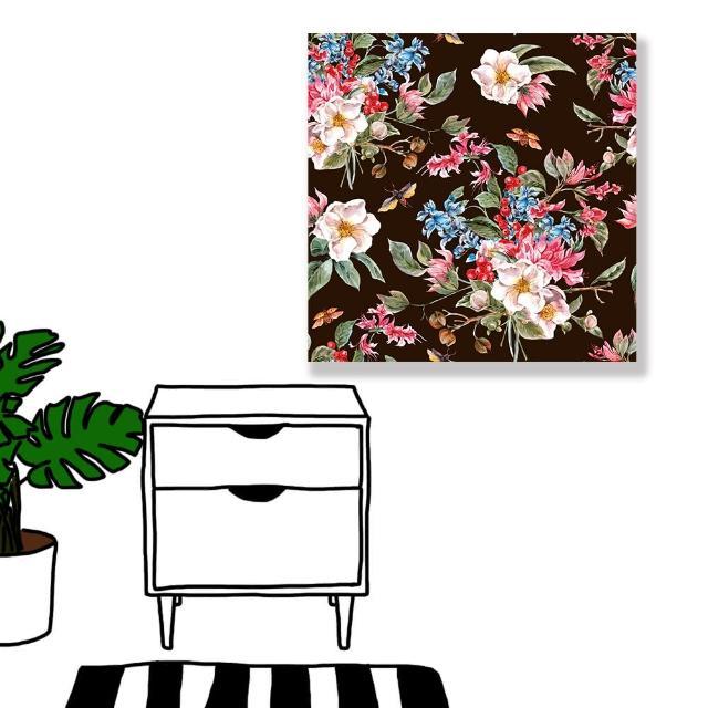 【24mama 掛畫】單聯式 油畫布 春天 復古 植物花朵 昆蟲 甲蟲 手繪 無框畫-60x60cm(柔和的春天02)