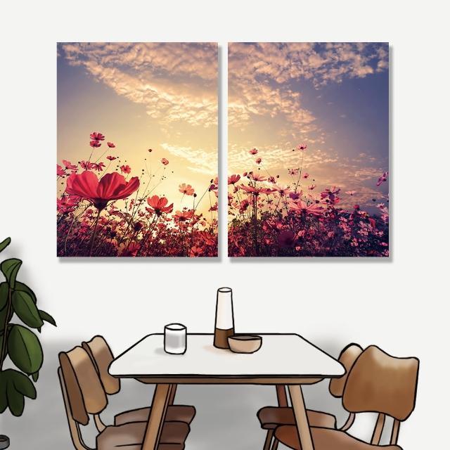 【24mama 掛畫】二聯式 油畫布 花卉 陽光 復古 粉紅色 天空 雲 無框畫 時鐘掛畫-30x40cm(美麗花田)