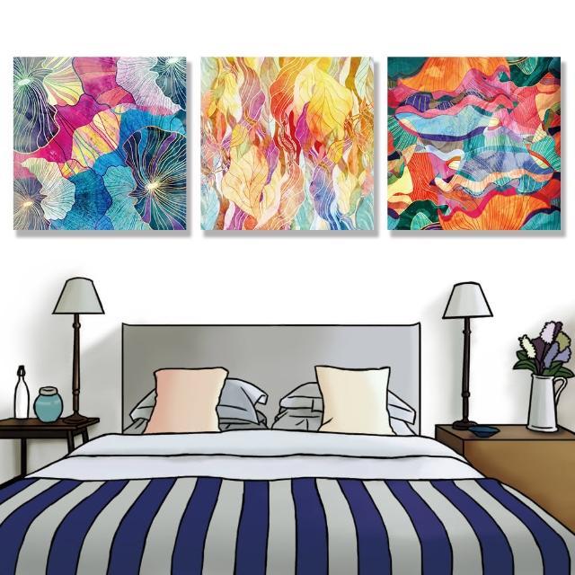 【24mama 掛畫】三聯式 油畫布 豐富多彩 幾何 藝術插圖 明亮 繪畫 創造力 無框畫-50x50cm(多彩抽象)