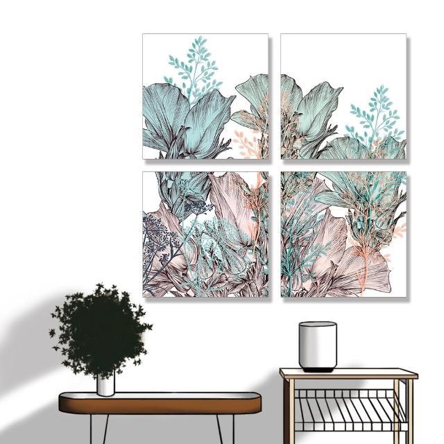 【24mama 掛畫】四聯式 油畫布 花卉 藝術插圖 柔和 華麗 優雅 無框畫-40x40cm(美麗月季花)
