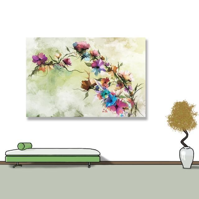【24mama 掛畫】單聯式 油畫布 抽象 花卉 手繪 復古 春天 花朵 無框畫 時鐘掛畫-60x40cm(柔和雛菊)