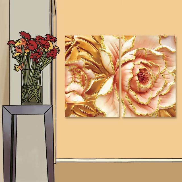 【24mama 掛畫】二聯式 油畫布 金色葉子 藝術 華麗 時尚 優雅 花卉 無框畫-40x60cm(鍍金牡丹)
