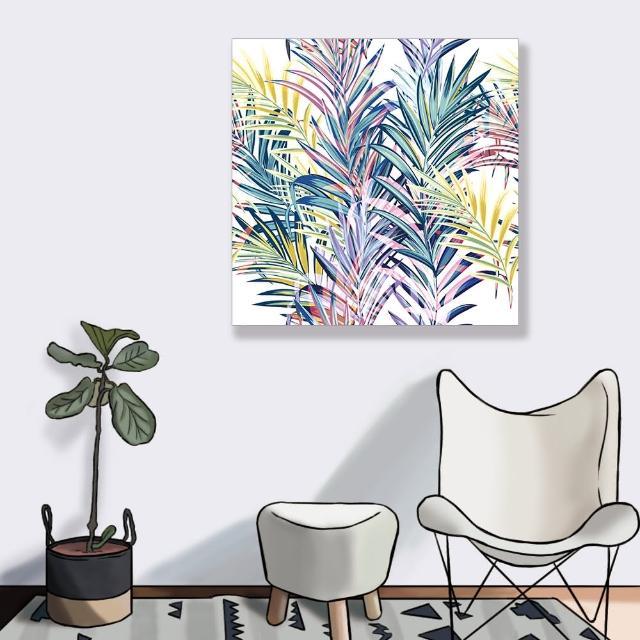 【24mama 掛畫】單聯式 油畫布 五顏六色 夏天 葉子 柔和 藝術 豐富多彩 插圖 無框畫-60x60cm(色彩棕梠葉)