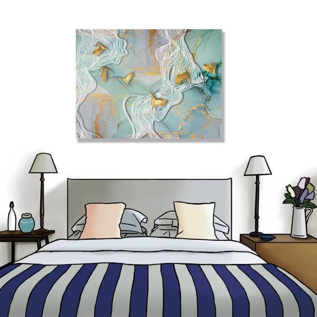 【24mama 掛畫】單聯式 油畫布 金色 抽象 鳥 動物 現代藝術 無框畫-40x30cm(波浪大理石)