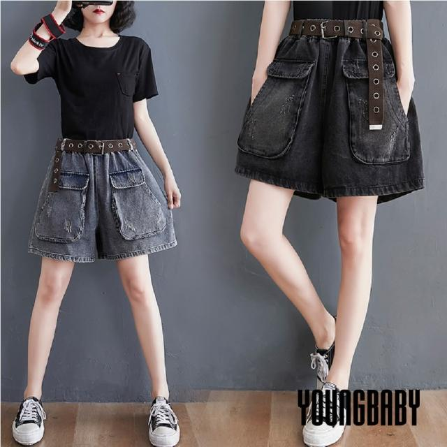 【YOUNGBABY】方型大口袋破破牛仔褲裙短褲(共2色)