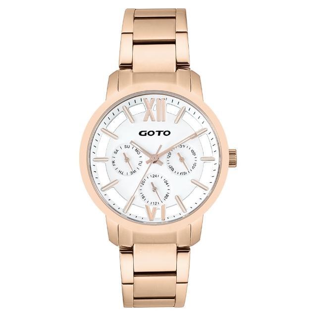 【GOTO】LINK系列裸空三眼精品時尚手錶-IP玫x白(GS0060L-44-241)