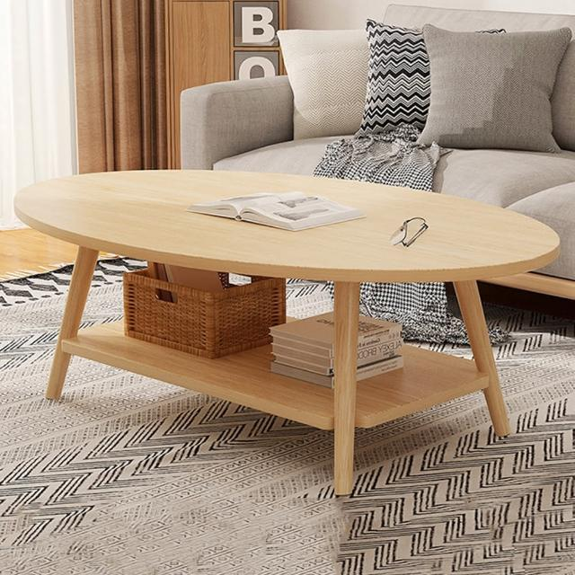 【HappyLife】雙層橢圓形茶几 100cm Y10186(咖啡桌 客廳桌 大桌子 大理石桌 木紋桌 桌子 大茶几)