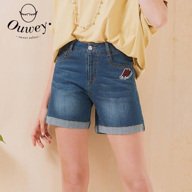 【OUWEY 歐薇】俏皮貼布繡彈性牛仔反摺短褲3212068566(深藍)