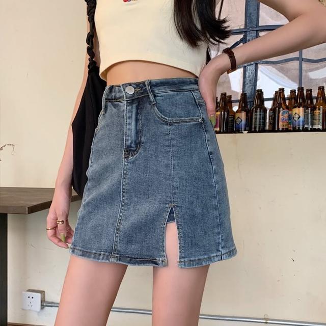 【WHATDAY】復古深藍小開衩高腰牛仔短褲裙XS-XL
