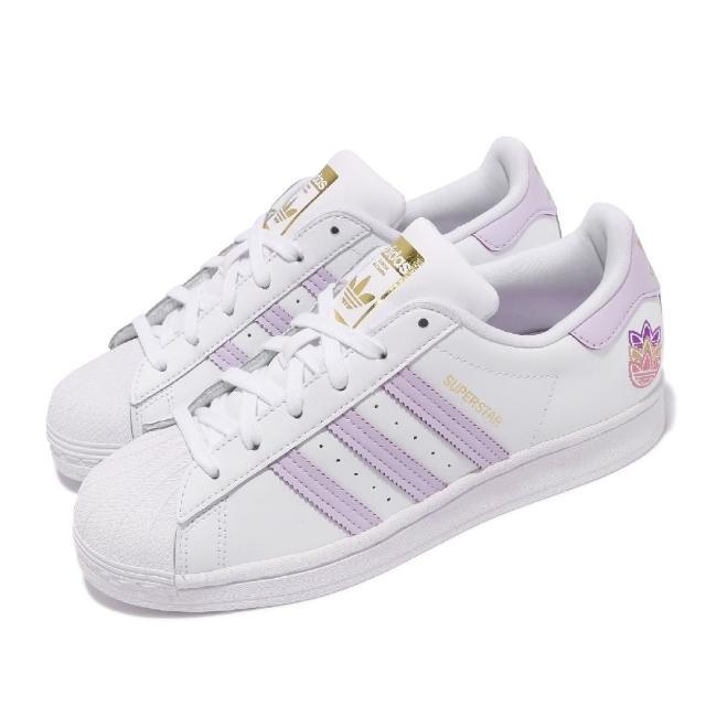 【adidas 愛迪達】休閒鞋 Superstar 經典款 運動 女鞋 愛迪達 貝殼頭 舒適 簡約 球鞋 穿搭 白 紫(GZ8143)