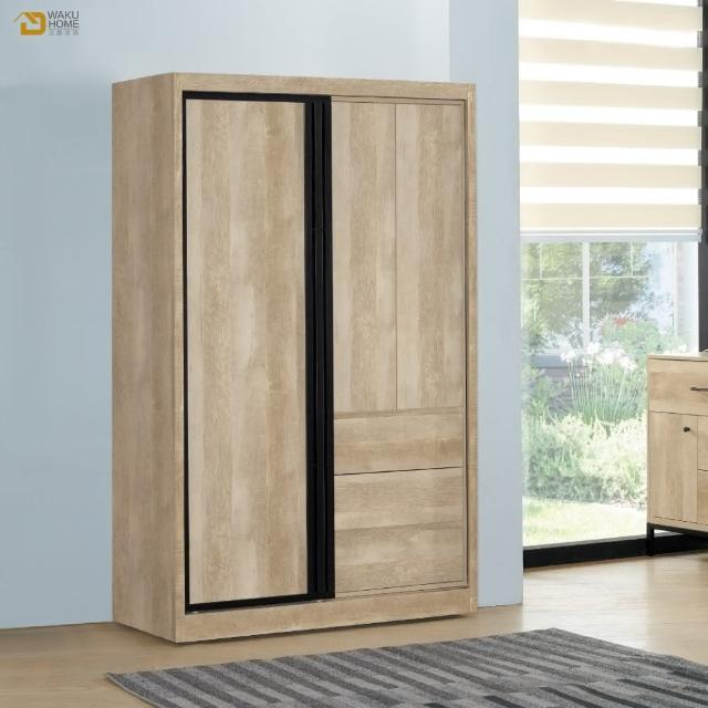 【德泰傢俱】Rod輕工業風5尺推門衣櫃-無側拉鏡 A003-301-12