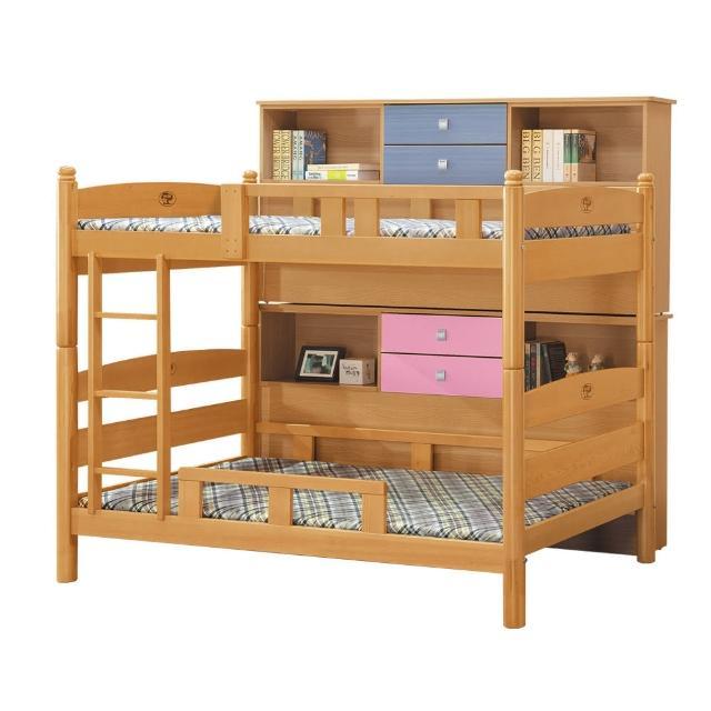 【BODEN】希達3.5尺實木雙層床架(含收納邊櫃)