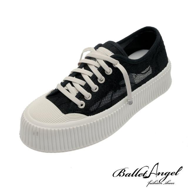【BalletAngel】休閒鞋 元氣少女蕾絲透膚餅乾鞋(黑)