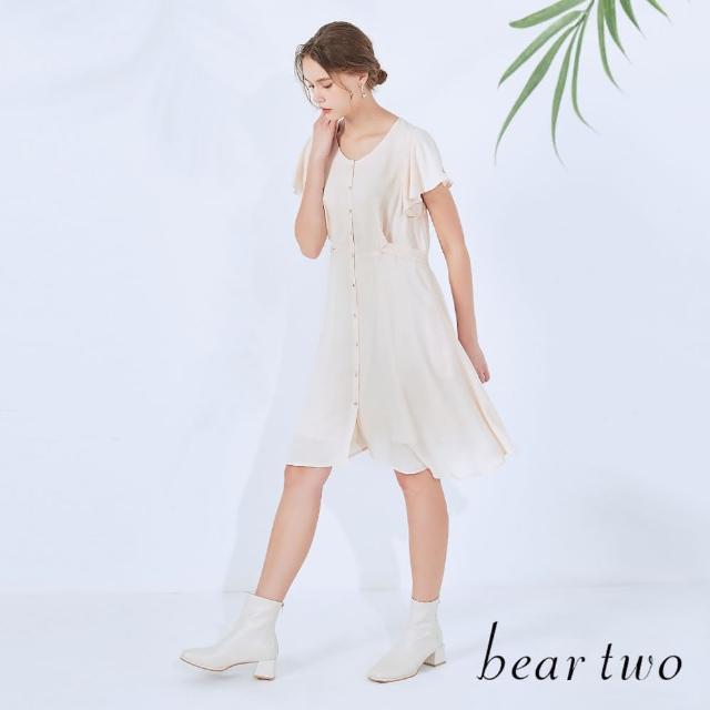 【bear two】荷葉袖綁帶造型短洋裝(兩色)