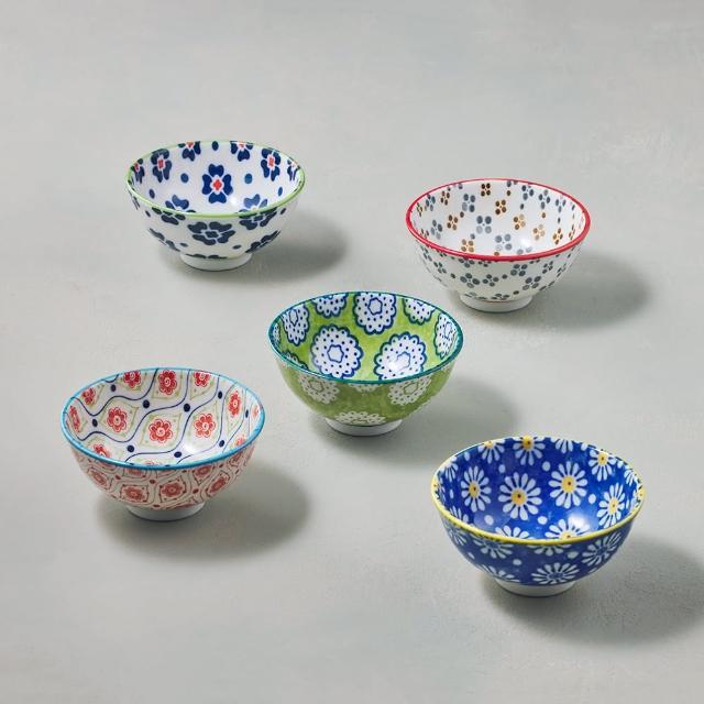 【有種創意食器】日本美濃燒 - 絢麗粉彩飯碗 - 禮盒組(5件式)