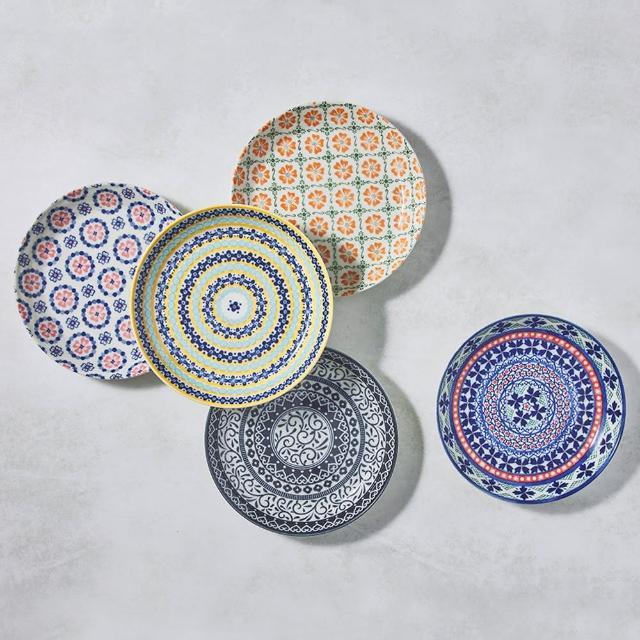 【有種創意食器】日本美濃燒 - 心花朵朵圓盤 - 禮盒組(5件式)