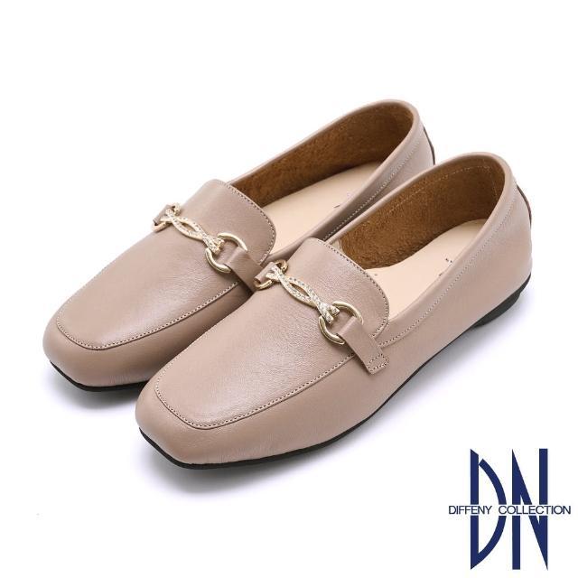 【DN】樂福鞋_MIT簡約水鑽飾釦牛皮樂福鞋(咖啡)