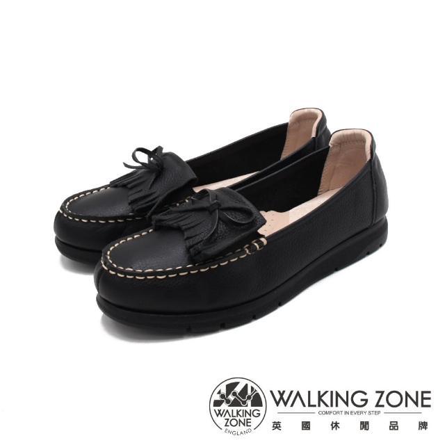 【WALKING ZONE】女 百搭圓頭厚底樂福鞋 女鞋(黑)