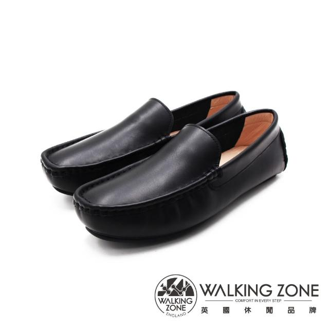 【WALKING ZONE】男 舒適柔軟真皮豆豆鞋 男鞋(黑)