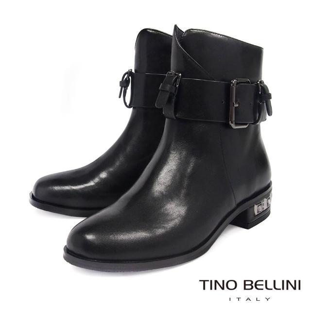 【TINO BELLINI 貝里尼】全真皮寬版腰帶鑲鑽低跟短靴VI8575(黑)