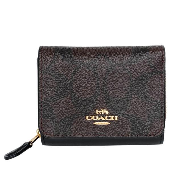 【COACH】PVC Logo釦式三摺零錢袋短夾(深咖黑邊)
