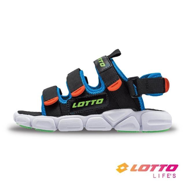 【LOTTO】義大利 童鞋 時尚織帶涼鞋(黑-LT1AKS3310)