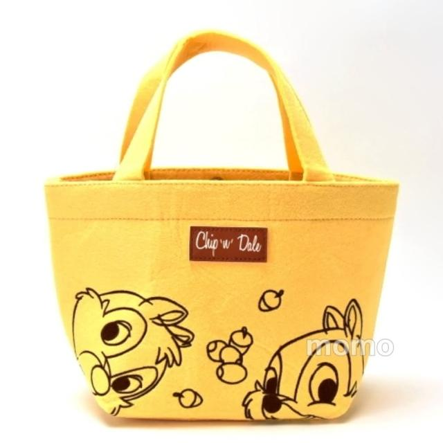【Disney 迪士尼】大頭奇奇蒂蒂-羊毛氈提袋