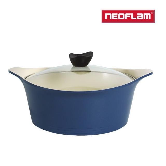 【NEOFLAM】Aeni系列30cm湯鍋-丹麥藍(IH爐適用/不挑爐具/含玻璃蓋)