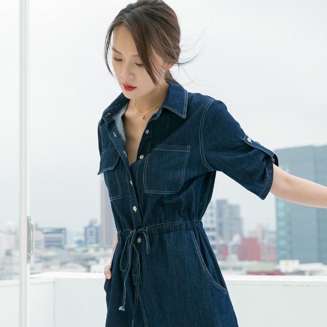 【KEZZA】襯衫式腰抽繩牛仔洋裝