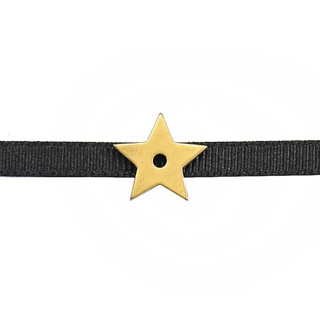 【Dior 迪奧】字母C D吊飾星星造型可調頸鍊(黑金)