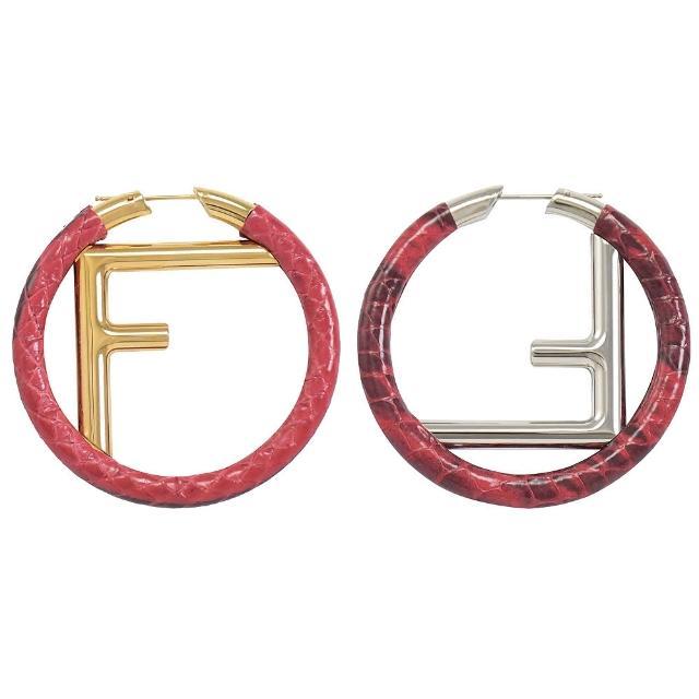 【FENDI 芬迪】金銀雙色字母F LOGO蛇皮耳環(紅)
