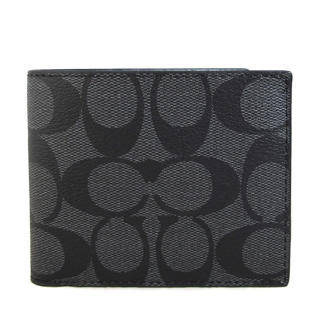 【COACH】男士款 滿版LOGO PVC六卡短夾(黑灰色)