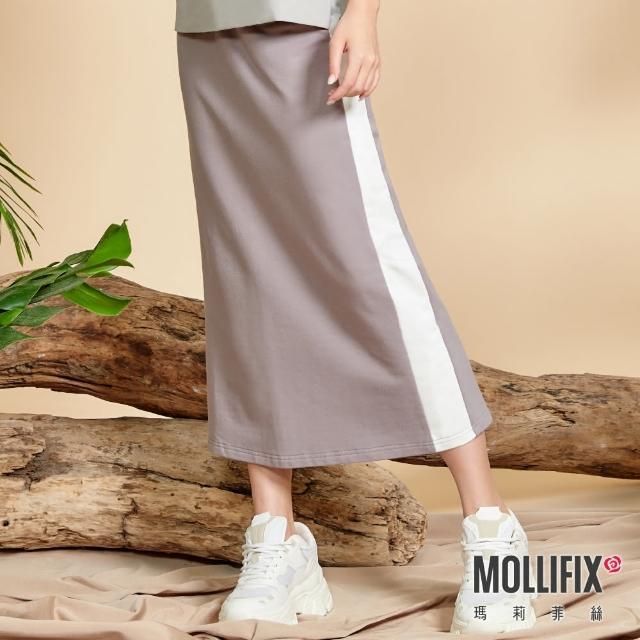 【Mollifix 瑪莉菲絲】側拼色後開岔修身長裙(灰+白)