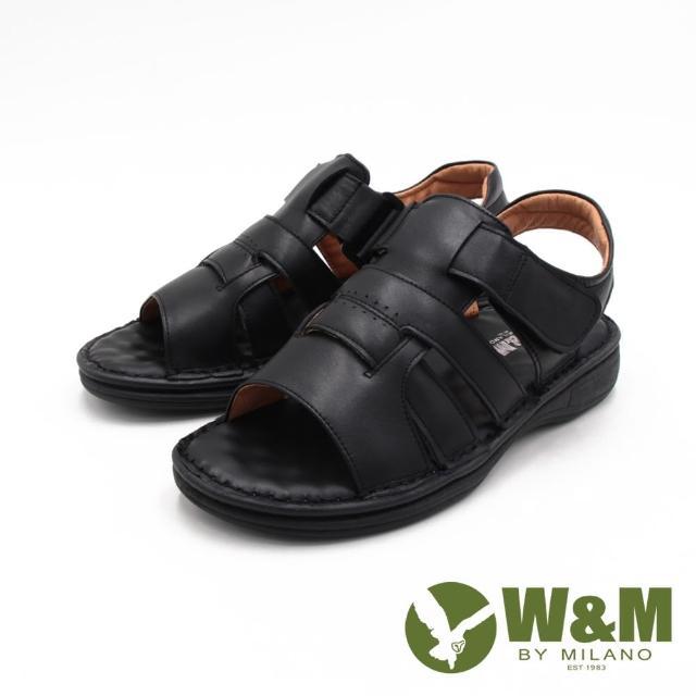 【W&M】男 真皮可調式魔鬼氈透氣涼拖鞋 男鞋(黑)