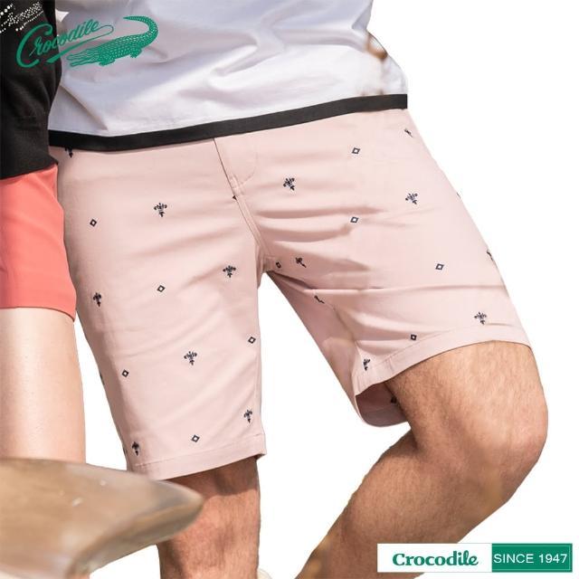 【Crocodile】男時尚繡花舒適修身短褲(粉紅色)