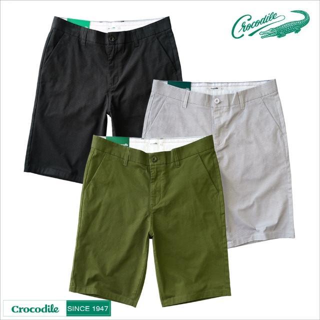 【Crocodile】男棉質休閒彈力修身短褲(三色)
