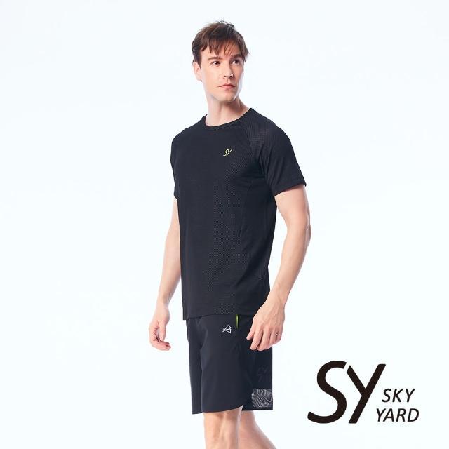 【SKY YARD】字體印花網格透氣排汗上衣T恤(黑色)