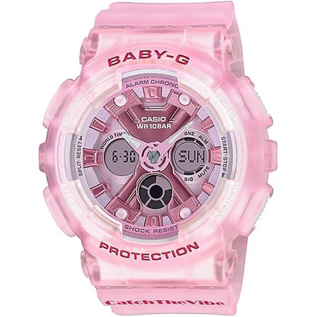 【CASIO 卡西歐】BABY-G RIEHATA聯名復古嘻哈風情雙顯錶(BA-130CV-4A)