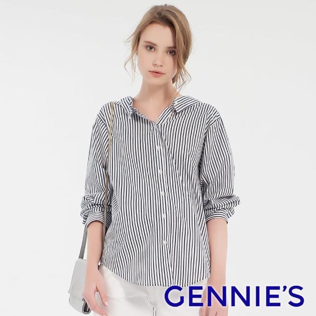【Gennies 奇妮】直條抓皺排釦兩穿式襯衫上衣(深藍條紋T3F08)