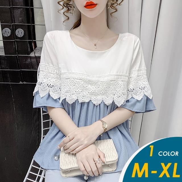 【CHACO】/預購/ 韓系優雅蕾絲併接條紋娃娃衫上衣#5306