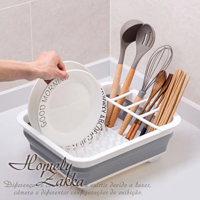 【Homely Zakka】多功能可折疊瀝水碗架/餐具收納籃/碗碟置物架