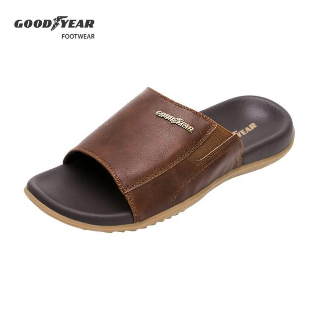 【GOODYEAR 固特異】尊爵-超緩震拖鞋/男款 雙層減壓底 咖啡色(固特異GAML13353)