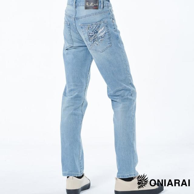 【BLUE WAY】側鬼頭三色繡線彈性中腰直筒褲-鬼洗