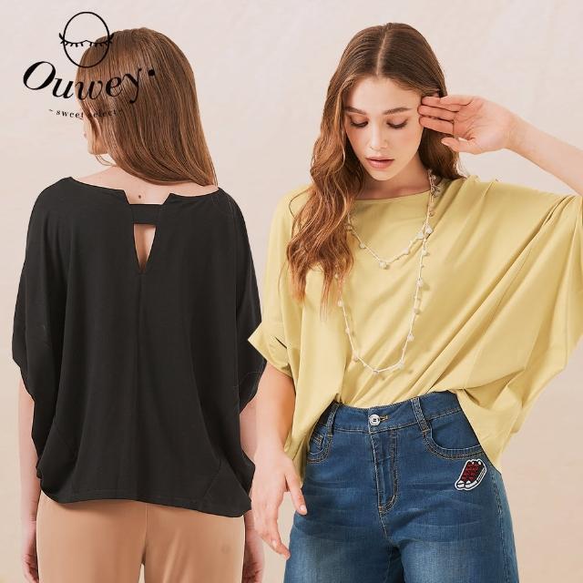 【OUWEY 歐薇】清新純色造型飛鼠袖上衣3212161238(黑/淺黃)